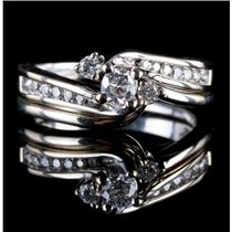 14k White Gold Round Cut Diamond Solitaire Engagement / Wedding Ring Set .44ctw