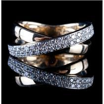 14k White & Yellow Gold Two-Tone Round Cut Diamond Cocktail Ring .37ctw