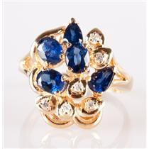 14k Yellow Gold Oval / Pear Cut Sapphire & Diamond Cluster Cocktail Ring 1.39ctw