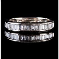 14k White Gold Baguette Cut Diamond Wedding / Anniversary Band .62ctw