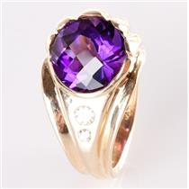 14k Yellow Gold Amethyst Solitaire Cocktail Ring W/ Diamond Accents 14.13ctw