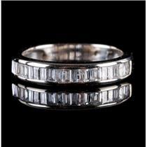 14k White Gold Baguette Cut Diamond Wedding / Anniversary Band .54ctw
