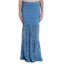 1 RARE NEW Nightcap Clothing Cherokee Stretch Stripe Lace Maxi Skirt Powder Blue