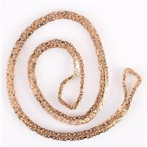 Stunning 14k Yellow Gold Extra Long 34 Inch Square Byzantine Chain 46.8g
