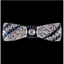 Vintage 1920's 18k White Gold Diamond & Sapphire Bow Style Brooch 10.22ctw