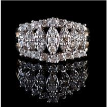 10k Yellow Gold Round Cut Diamond Cluster Cocktail Marquise Style Ring 1.58ctw