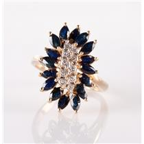 14k Yellow Gold Marquise Cut Sapphire & Diamond Cluster Cocktail Ring 2.80ctw