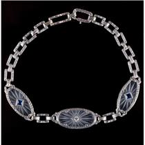 Vintage 1920's Platinum & 14k Gold Sapphire & Diamond Window Bracelet .30ctw