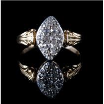 Vintage 1850's 18k Yellow & White Gold Old Mine Cut Diamond Pavé Ring .33ctw