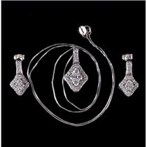 14k White Gold Round Cut Diamond Necklace & Dangle Set 1.43ctw