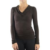NWT LinQ Chocolat Brown Jersey Knit V Neck Cowl Long Sleeve Blouse Top N4947