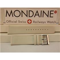 Mondaine Swiss Railways Watch Band 20mm Cream/Bone/Creme Leather Strap w/Pins