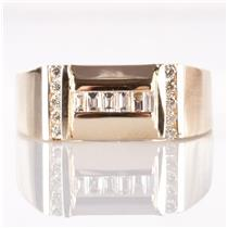 Men's 14k Yellow Gold Round & Baguette Cut Diamond Cocktail Ring .39ctw