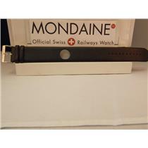 Mondaine Watch Band Black One Piece 24mm Wide Leather Loop Thru Strap w/Logo bkl