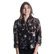NWT Di Vita Di Luxe Brown Button Front Embroidered Floral Detail Taffeta Jacket