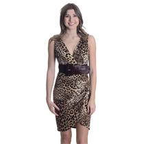 8 NWT Laundry By Shelli Segal Leopard Print Wrap Style Ruched Dress Stretch Belt