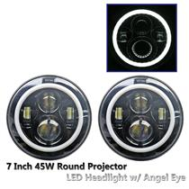 "2 x 7"" 45W Round CREE LED Projector Angel Eye Headlight Jeep Wrangler JK/TJ/CJ"