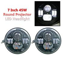 "1 Pair 7"" 45W Round High Low Beam CREE LED Projector Headlight Fit Jeep Wrangler"