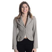 Sz 2 LAUNDRY by Shelli Segal Grey Plaid Crop Blazer Jacket Gold Metallic Thread