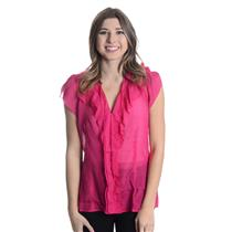 M NWT BCBG Maxazria Azalea 100% Silk Wrap Top Blouse Ruffle Chiffon Pink Sheer