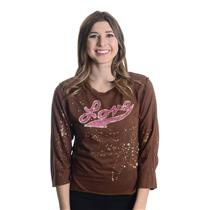8/M NWT Hiho Batik Grail Brown Bleach Splatter Love Shirt Top Jewel Neck Crystal