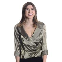 NWT Alex Evenings Olive Green Satin Shine Cross Over Evening Formal Blouse/Top