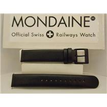 Mondaine Swiss Railways Watch Band FE311620B 16mm Black Genuine Leather Strap