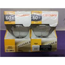 Factory Sealed Sylvania 2-pack of  60w Indoor Light Bulbs -Clear Globes - New
