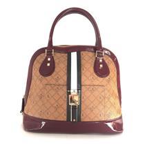 LAMB Kingston Bowler Lipstick Saddle Leather Handbag Merlot Patent Leather Trim