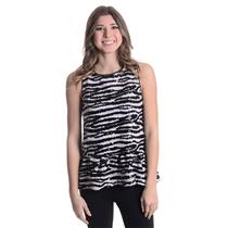 S NWT BB Dakota Burnell Sleeveless Sequin Peplum Tank Top Zebra Stripe Mesh Trim