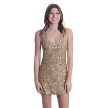 XS Authentic Alice + Olivia Tiny Sequin Mini Tank Dress Gold Stretch Sleeveless