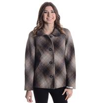 S NEW Pendleton Gray/Brown/Cream Square Knit Plaid Virgin Lambs Wool Pea Coat