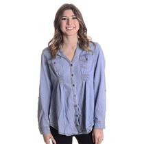 M NWT Chances R Light Blue Denim Long Sleeve Button Top Tunic Corset Laced Back