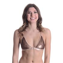 S NWT East N West Label Bronze Sequin Front Sun Bra Triangle Unlined Bralette