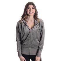 M NWT Authentic Juicy Couture Grey Slate Pink Glitter Dolman Zip Hoodie JGS00372