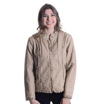 S Fantazia Tan/Beige Vegan Leather Jacket Ruffle Collar/Trim Zip Satin Lined