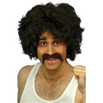 70's 80's Mens Brown Wig and Tash Retro Kit