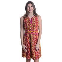 Sz 8 Nanette Lepore Magenta/Yellow/Orange Printed Sleeveless Button Front Dress