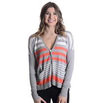 S C&C California Gray/Orange/White Striped Button Front Cotton/Cashmere Cardigan