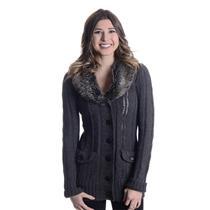 Sz S Romeo & Juliet Couture Charcoal Gray Knit Wool Blend Cardigan w/ Faux Fur