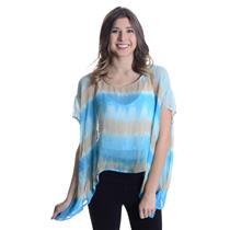 XS NWT Gypsy 05 Haley Square Blue/Beige/Turquoise Silk Tie Dye Ombre Blouse Top