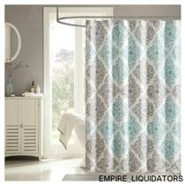 "NEW - Madison Park 72"" X 72"" Claire Fabric Shower Curtain - AQUA/BLUE"