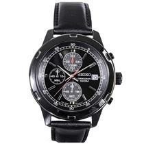 Seiko Man's Chronograph SKS439 Black:Steel Case/Leather Strap. 50% off Retail
