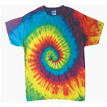 Adult Tie Dye Short Sleeve T Shirt New Reactive Rainbow Multi Color Spiral Small