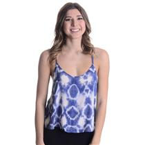 New XS Planet Blue Life Tie Me Up Cross Back Boho Tie Dye Spaghetti Strap Cami