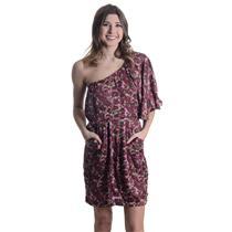 M NEW COLLECTIVE CONCEPTS Pink Violet One Shoulder Dolman Rose Print Shift Dress