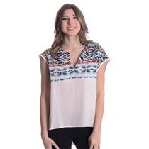 L NEW Fifteen-Twenty Western Aztec Printed Split Neck Silk Blouse White 25581