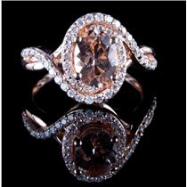 14k Rose Gold Oval Cut Morganite & Diamond Cocktail Wrap Ring 1.46ctw