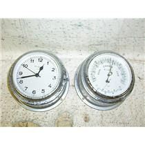 Boaters Resale Shop of TX 1701 0421.07 WALROUS QUARTZ CLOCK & BAROMETER SET