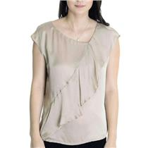 NWT 6 L.K. Bennett TW Shania Single Ruffle Cap Sleeve Silk Blouse In Biscuit